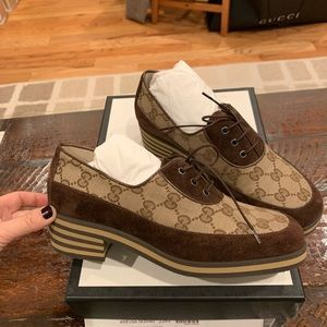 GUCCI GG Logo Monogram Shoes Loafers  brown size36